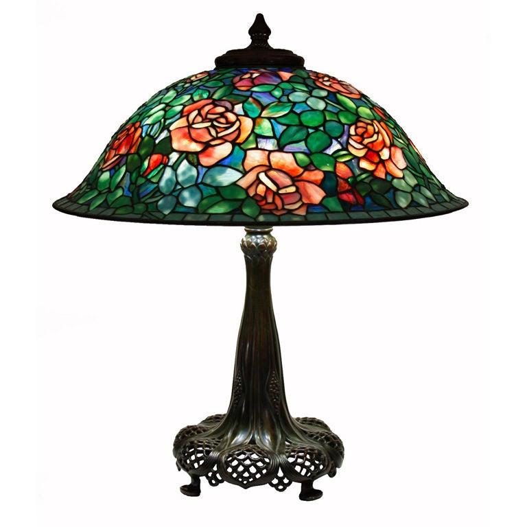 Tiffany Studios Rose Table Lamp At 1stdibs