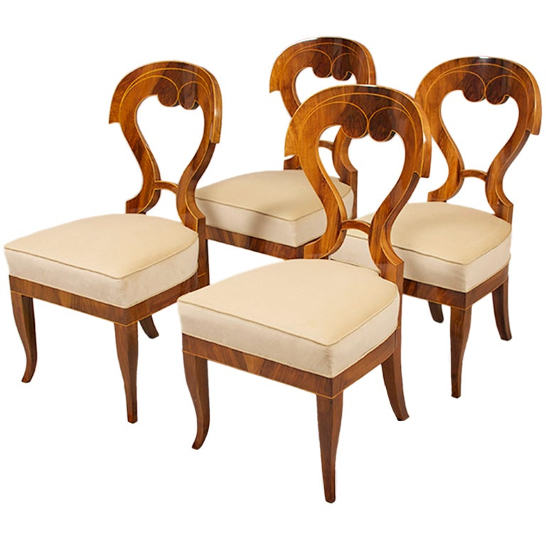 Biedermeier Side Chairs With A Fourth Addition For Sale At 1stdibs