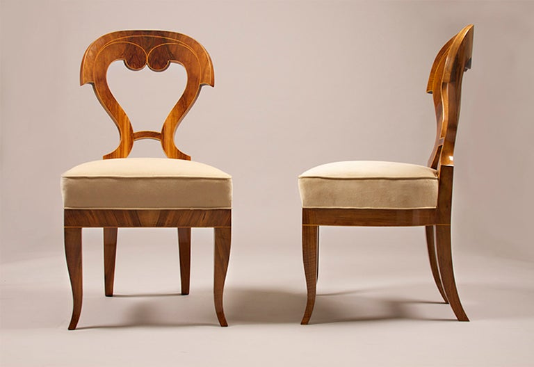 Biedermeier Side Chairs with a Fourth Addition For Sale at