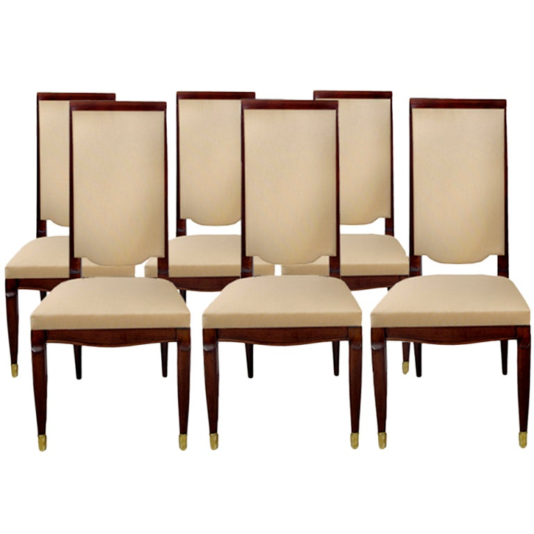 A set of six Art Deco dining chairs by Maurice Jallot