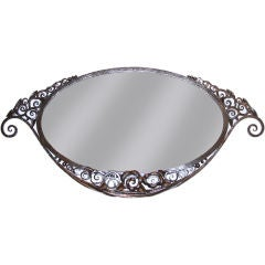 Art Deco Forged-Iron Oval Mirror