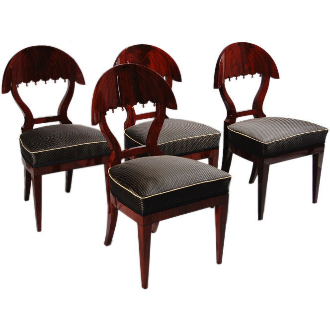 A Set of Four Biedermeier Side Chairs with Umbrella Back