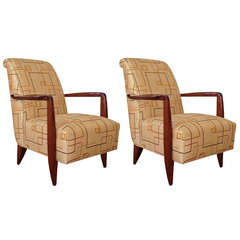 Art Deco Club Chairs Attributed to Alfred Porteneuve
