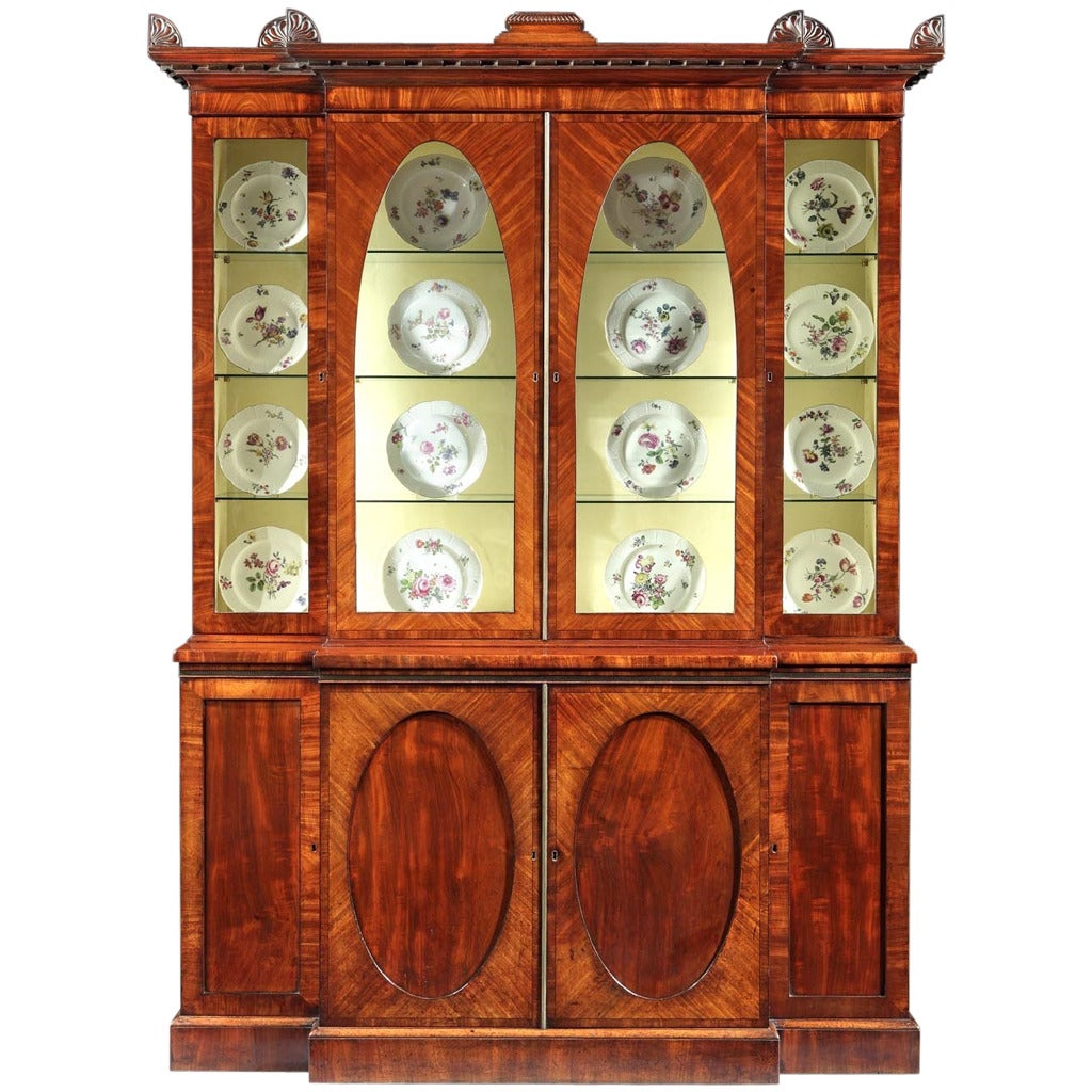 Regency Mahogany Breakfront Bookcase