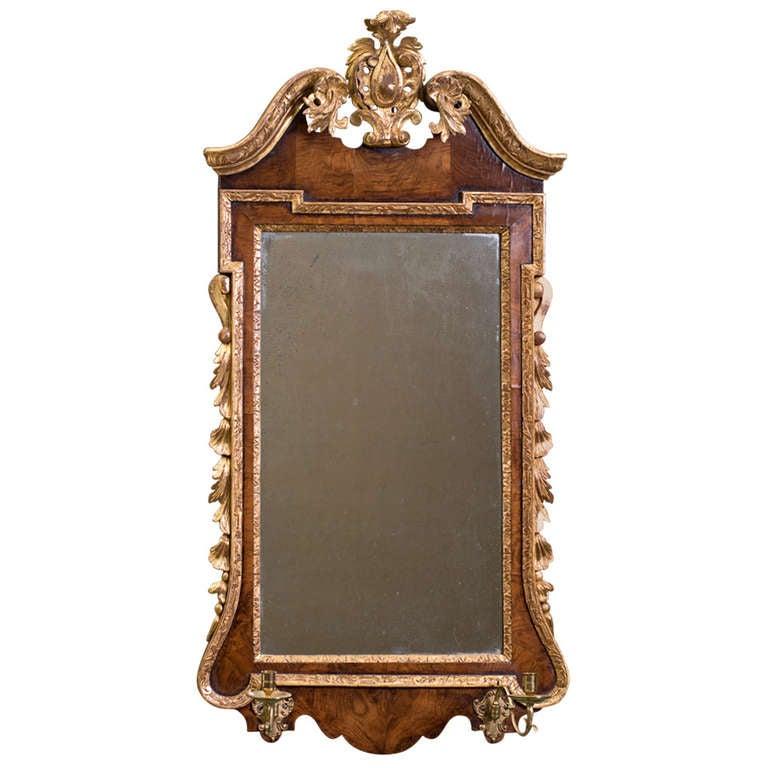 George II Period Walnut and Giltwood Mirror