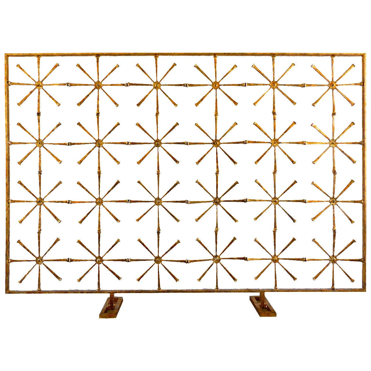 Glittering 24 Star Hand Gilded Fire Screen By Del Williams