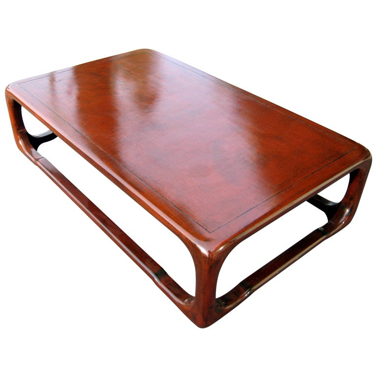 A Karl Springer Linen Wrapped Wood And Burgundy Lacquer Coffee Table At  1stdibs