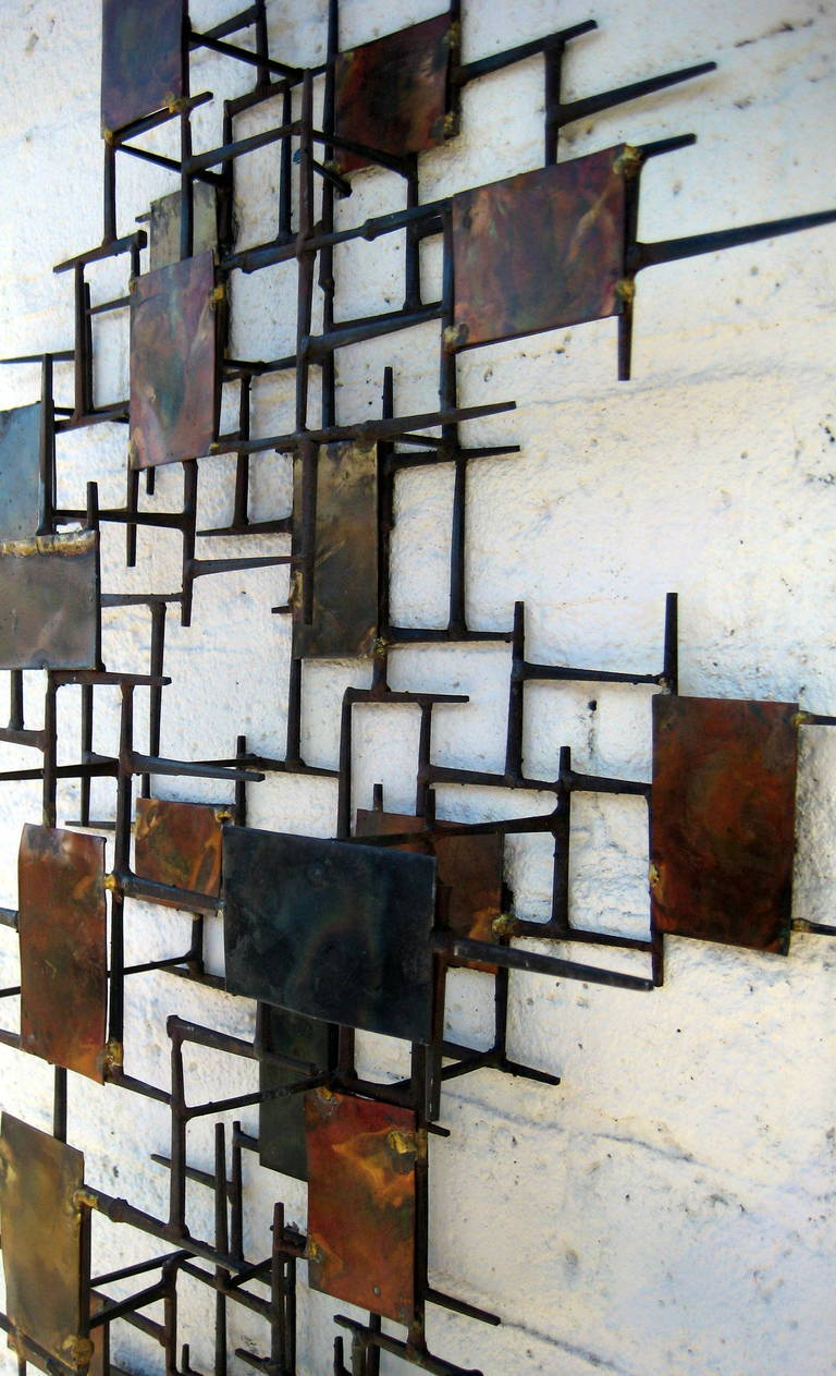 A Vintage 1960 S Copper And Steel Mid Century Modern Wall