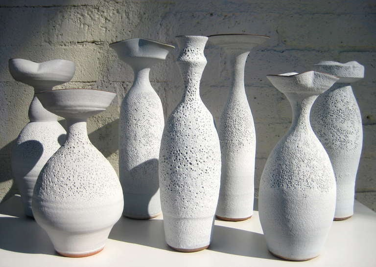 Mid-Century Modern Group of Seven Crater Glazed Vessels by American Artist Jeremy Briddell