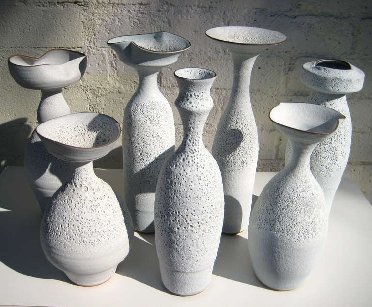 Group of Seven Crater Glazed Vessels by American Artist Jeremy Briddell In Excellent Condition In Palm Springs, CA