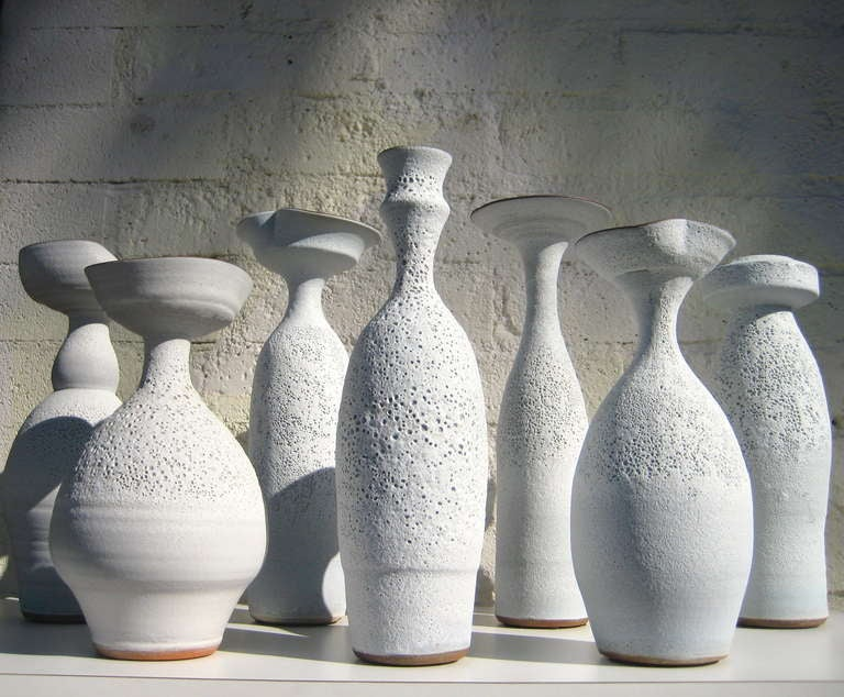 Contemporary Group of Seven Crater Glazed Vessels by American Artist Jeremy Briddell