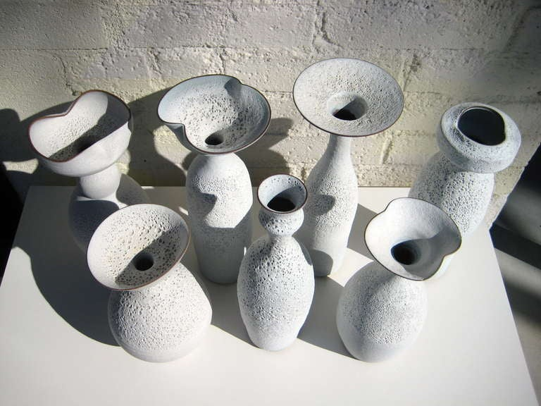 Clay Group of Seven Crater Glazed Vessels by American Artist Jeremy Briddell