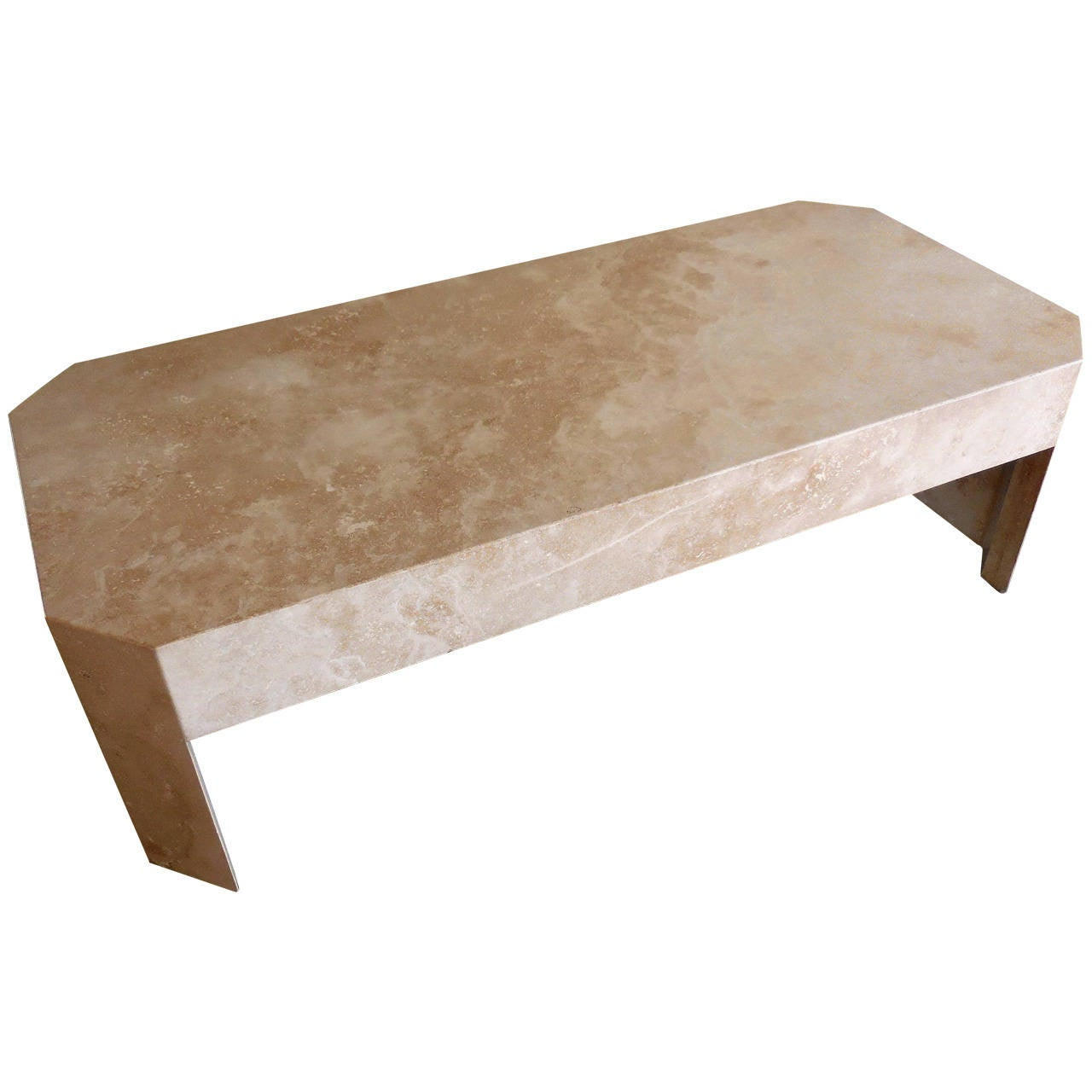 Travertine Slab Coffee Table: Canted Corner Rectangular Travertine Coffee Table, Circa