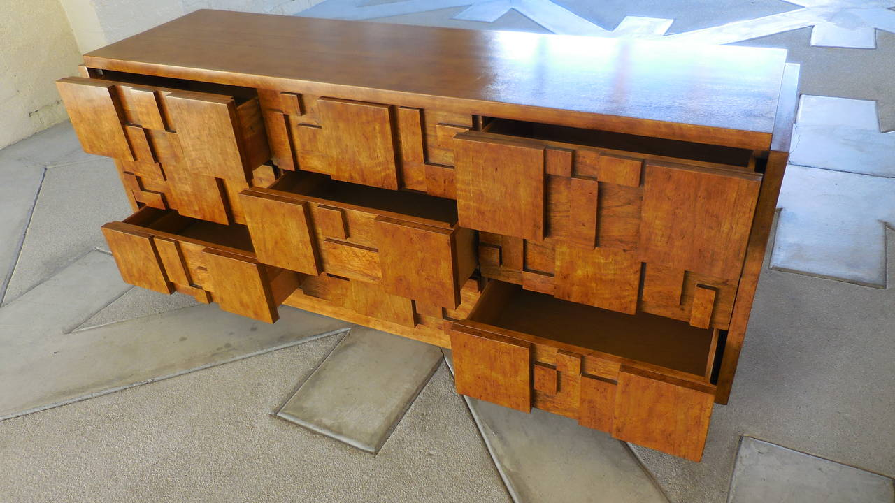 Cubist Sculpted Nine Drawer Chest By Lane Furniture Company Circa 1960s At 1stdibs