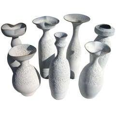Group of Seven Crater Glazed Vessels by American Artist Jeremy Briddell