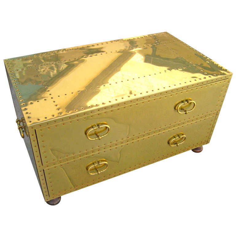 A Sarreid Studded Brass Campaign Style Coffee Table Chest