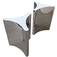 Gleaming Pair of Nickel-Plated Steel Trilobi Table Bases by Mastercraft