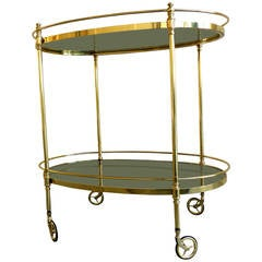 Fine Quality Solid Brass Oval Serving Cart, circa 1950s