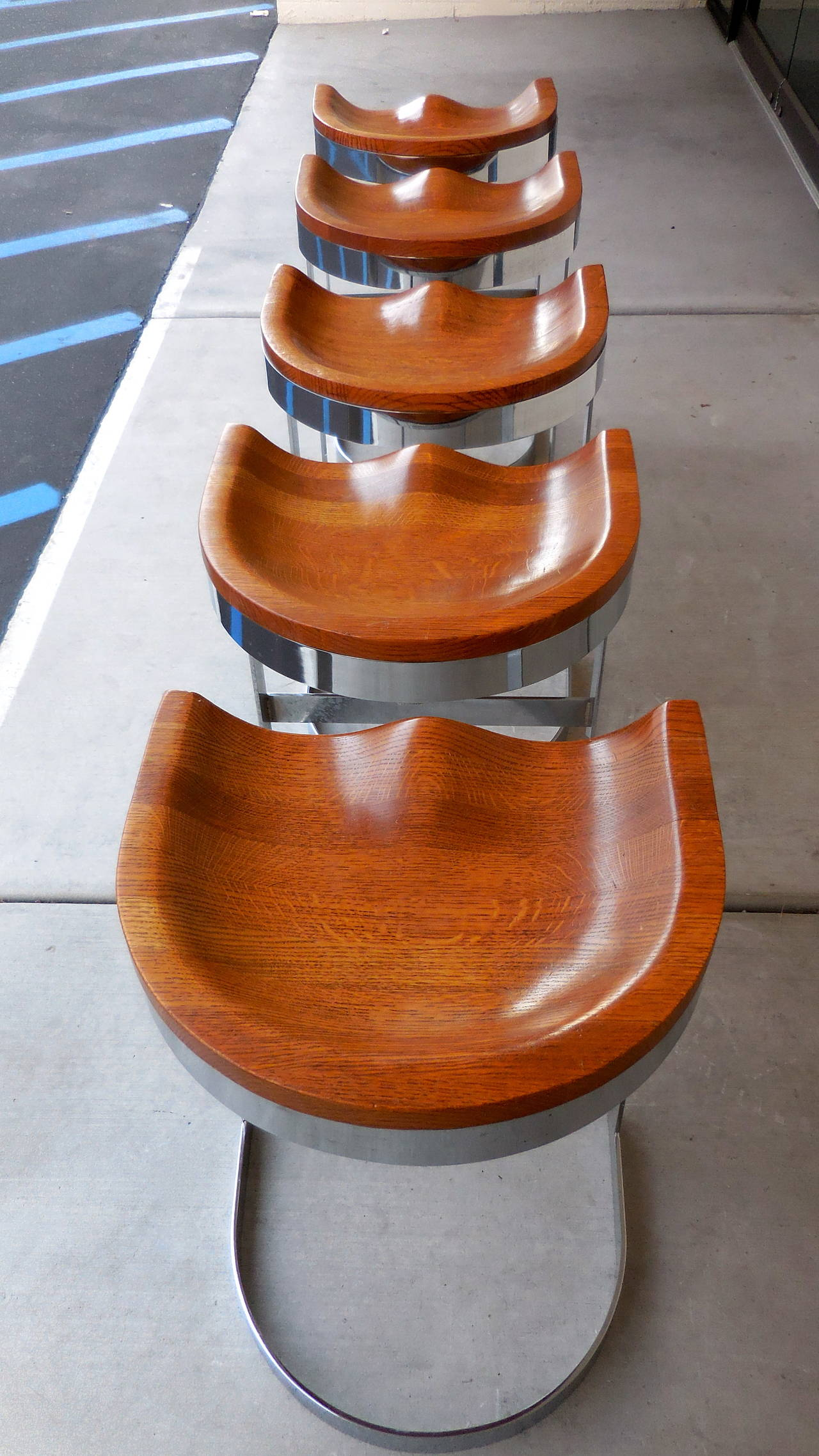 Desirable Set Of Three Counter Height Bar Stools By Warren
