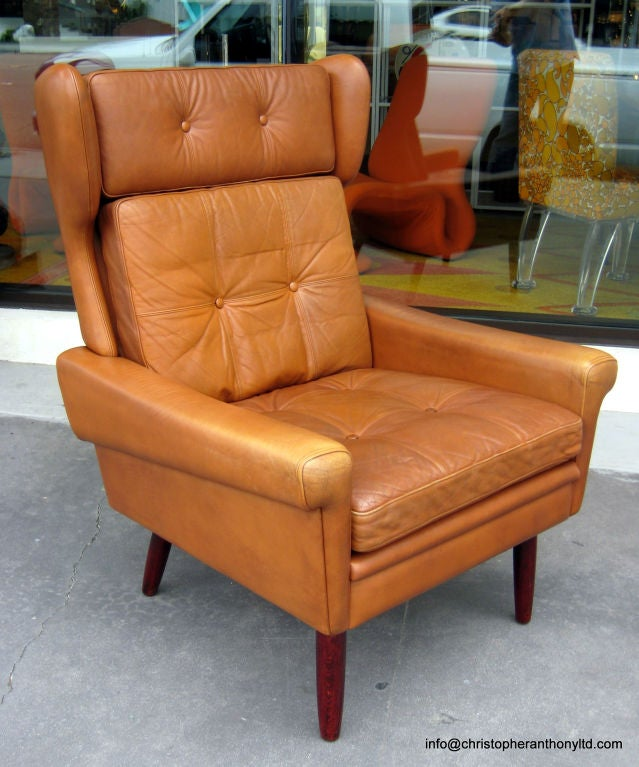 1960s Missoni Wingback Chair At 1stdibs: A Scandinavian Leather Wing Back Chair Circa 1960's At 1stdibs