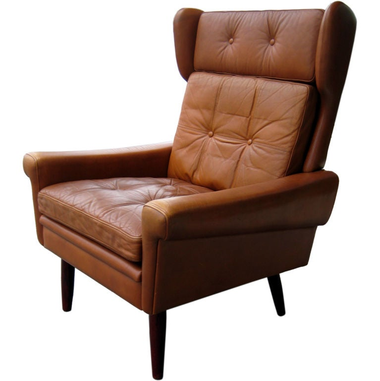 A scandinavian leather wing back chair circa 1960 39 s at 1stdibs for Wing back recliner chair