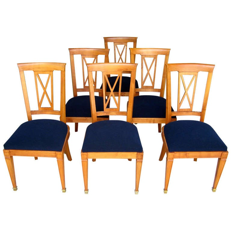 Six 1940s, French Neoclassical Cherrywood Dining Chairs