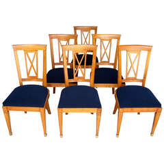 Six 1940s, French Neoclassical Cherrywood Dining Chairs with Brass Sabot