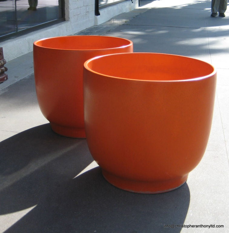 Architectural Pottery Large Orange Glazed Ceramic Planters