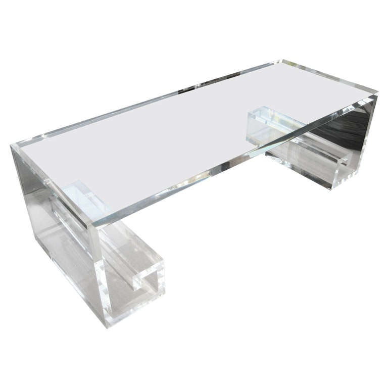 Custom Made Lucite Greek Key Coffee Table By Carmichael At 1stdibs