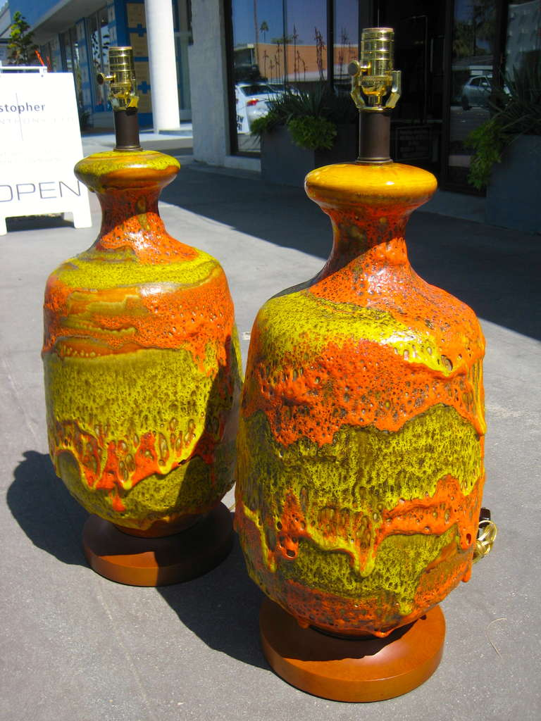 A Volcanic Pair Of 1950 S European Fat Lava Glazed Lamps