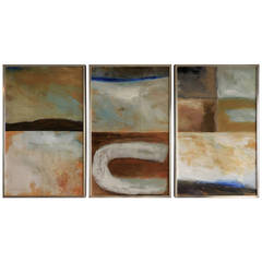 """Mingus V"" a Triptych of Oil on Paper Paintings by Janet Richardson-Baughman"