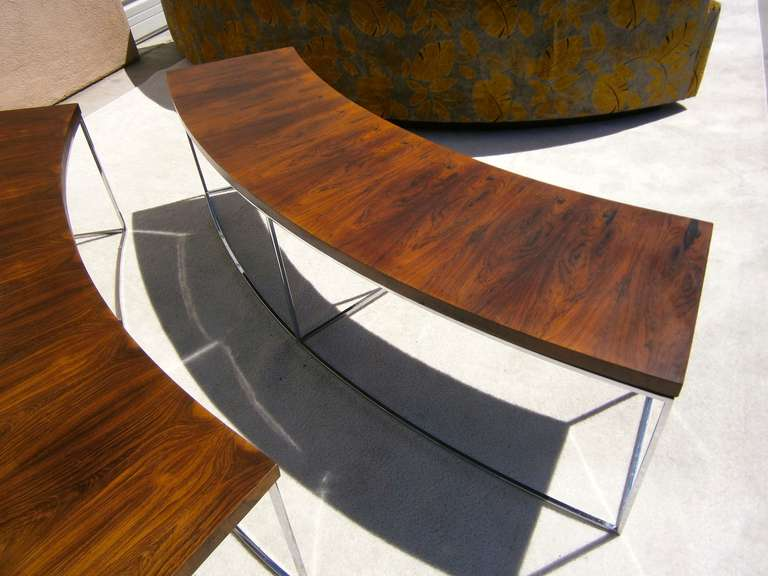 A Pair Of Sofa Tables Designed By Milo Baughman For Thayer