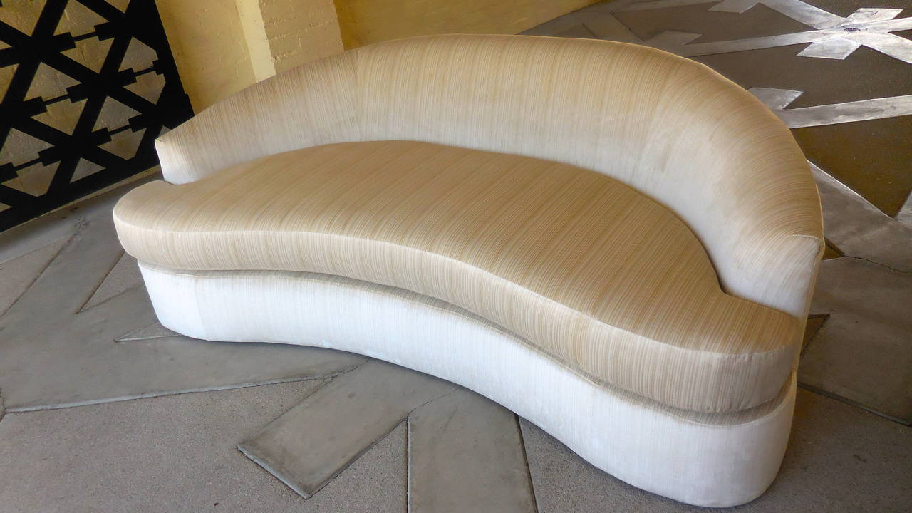 Sultry Crescent Shaped Upholstered Sofa circa 1960s at