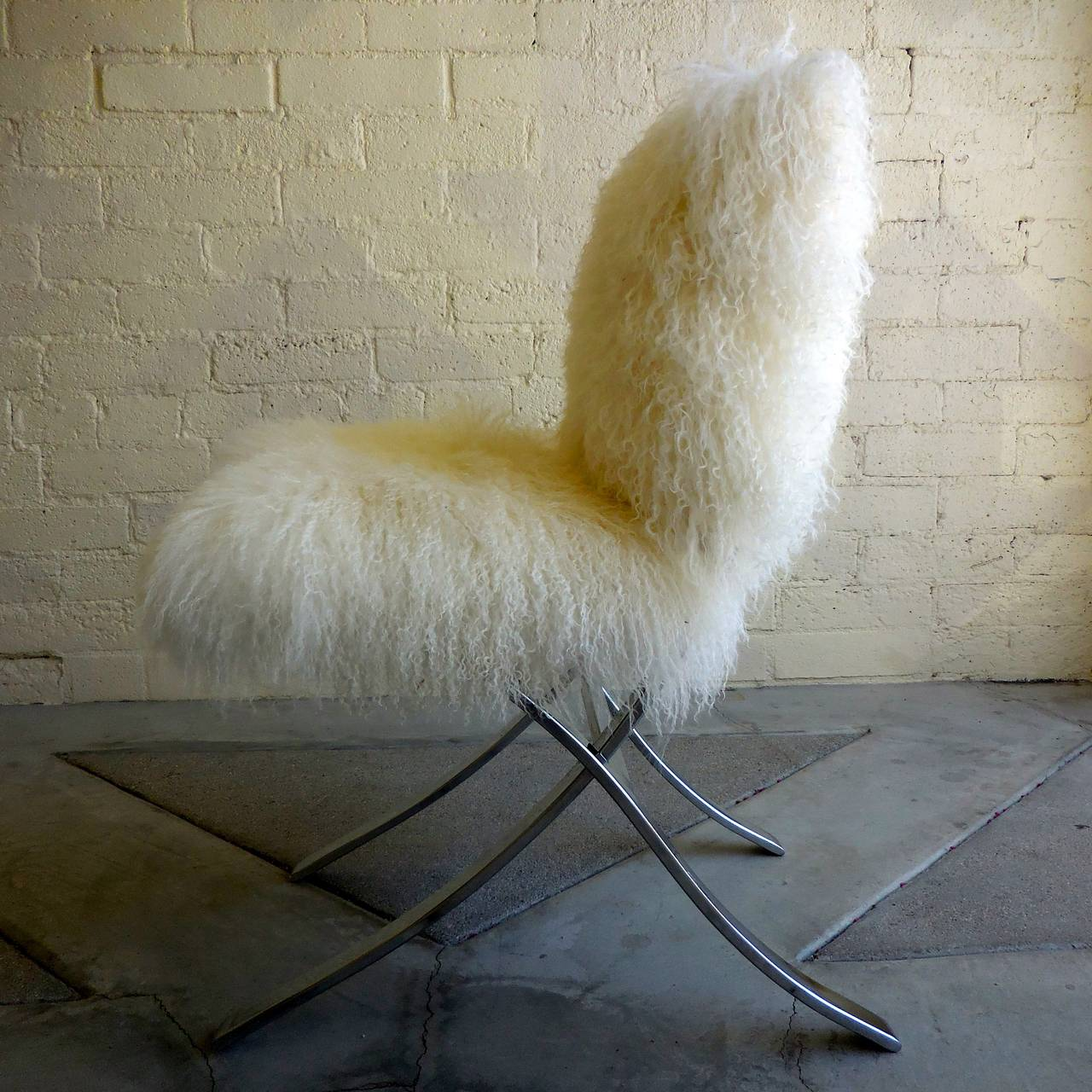 Playfully Fluffy Chrome Plated Chair Upholstered In