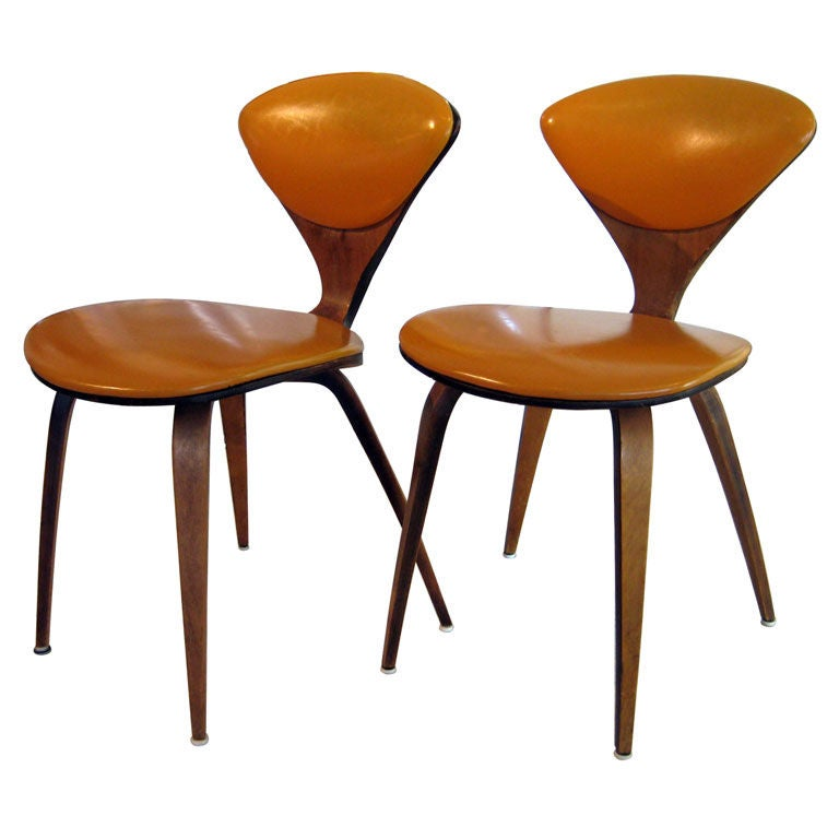 A pair of Norman Cherner upholstered side chairs circa ...