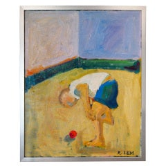 """Boy With Red Ball"" an original 1960 painting by Richard Lem (1933-2004)"