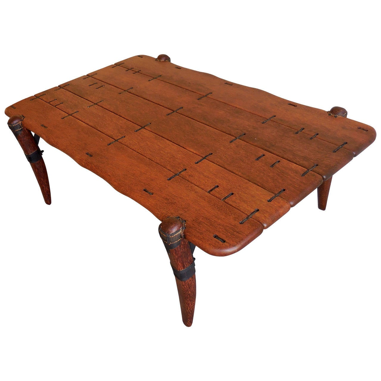 Intriguing Palm Wood And Leather Vintage Coffee Table At