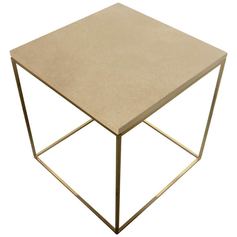 A Solid Brass And Travertine Occasional Table Circa 1960s