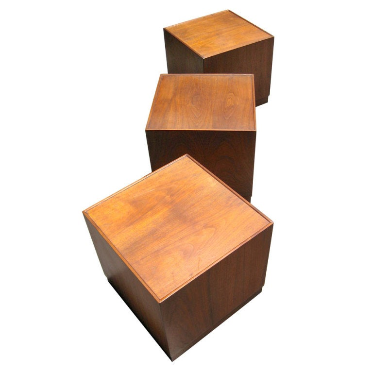 Three walnut cube form sidecoffee tables at 1stdibs