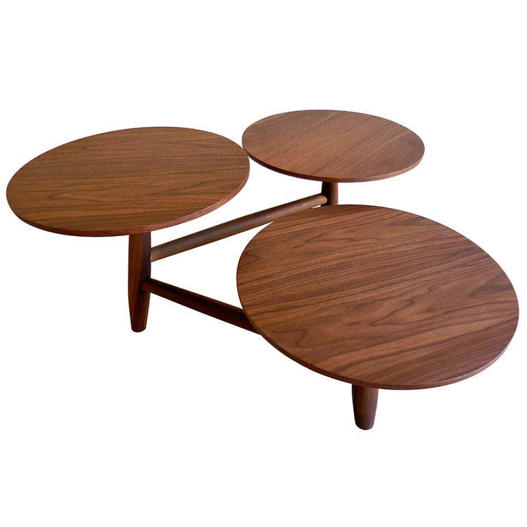 An Engaging Walnut Coffee Table With Multi Level Pod Surfaces C 1960