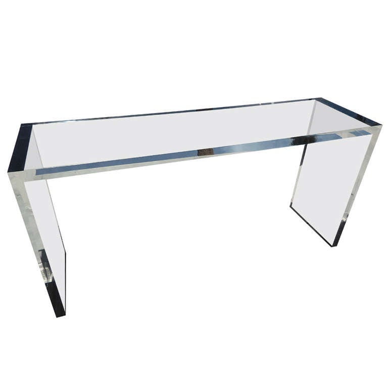 A Custom Fabricated Acrylic Parson 39 S Console Table By