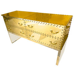 Brass-Clad Long Chest on Lucite Base  Attributed to Sarried  C 1980s