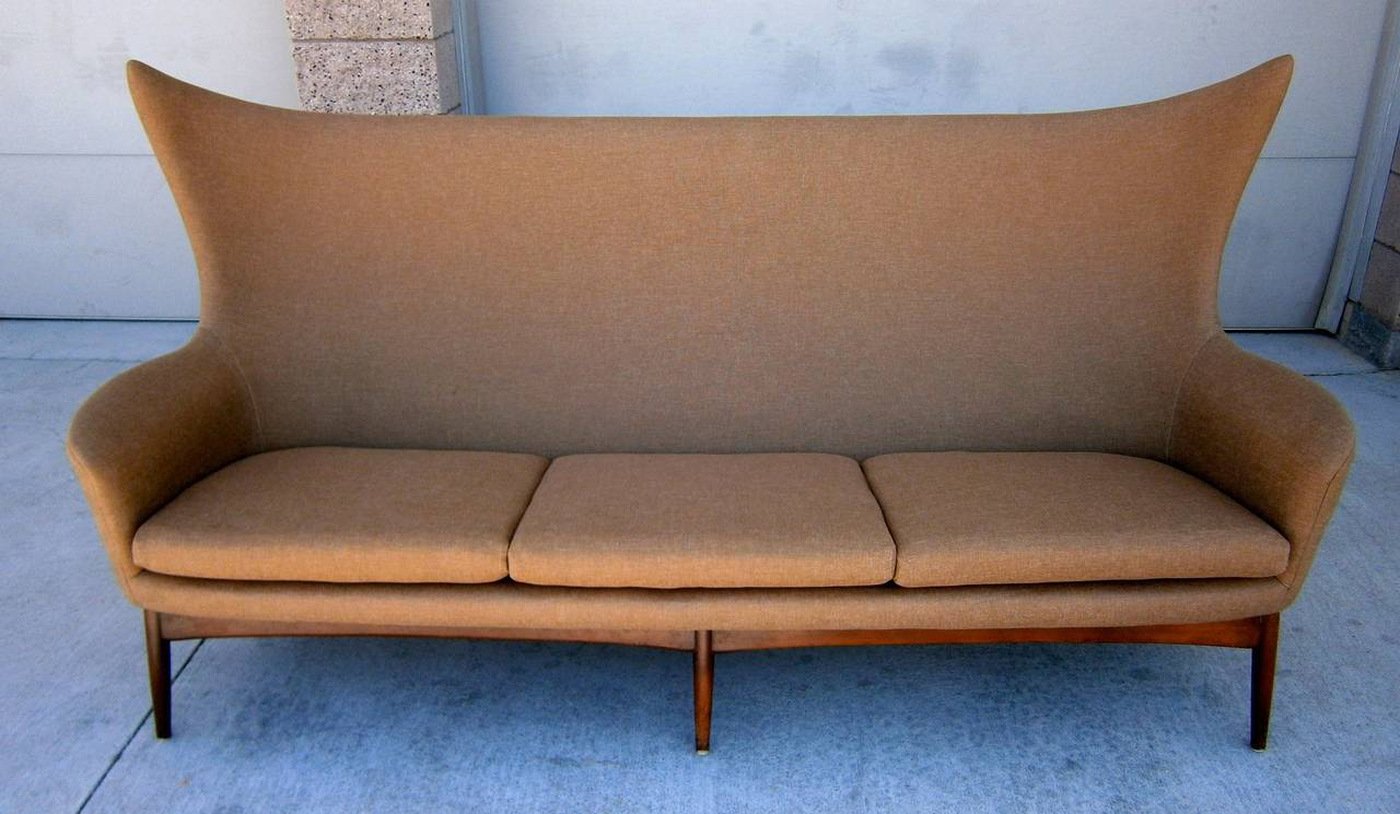 sculptural sofa designed by h w klein for bramin mobler of denmark circa 1950s for sale at 1stdibs. Black Bedroom Furniture Sets. Home Design Ideas
