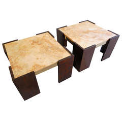 A terrific pair of 1960s Brazilian mahogany and brass side tables