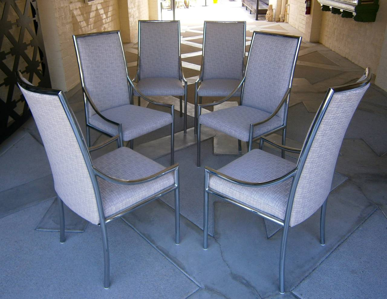 Six Dynamic 1970 39 S Chrome Plated Steel Dining Chairs