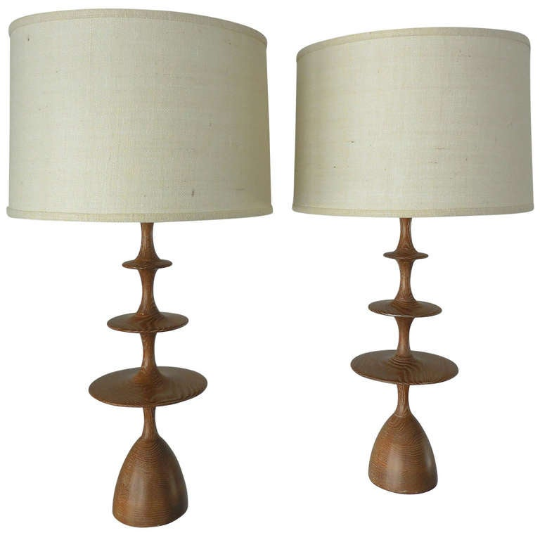 A pair of cerused oak metro lamps by christopher anthony ltd at 1stdibs - Artistic d lamp shade designed with modern and elegant shape style ...