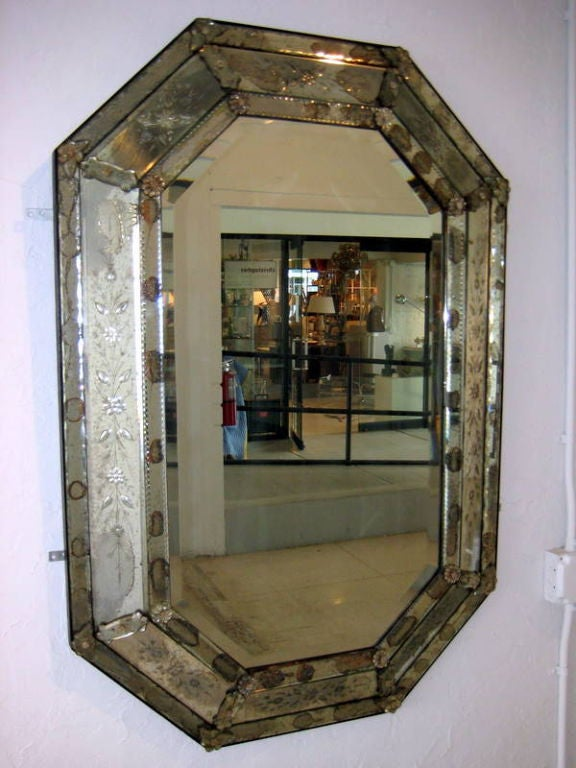 A Vintage Venetian Glass Octagonal Mirror At 1stdibs