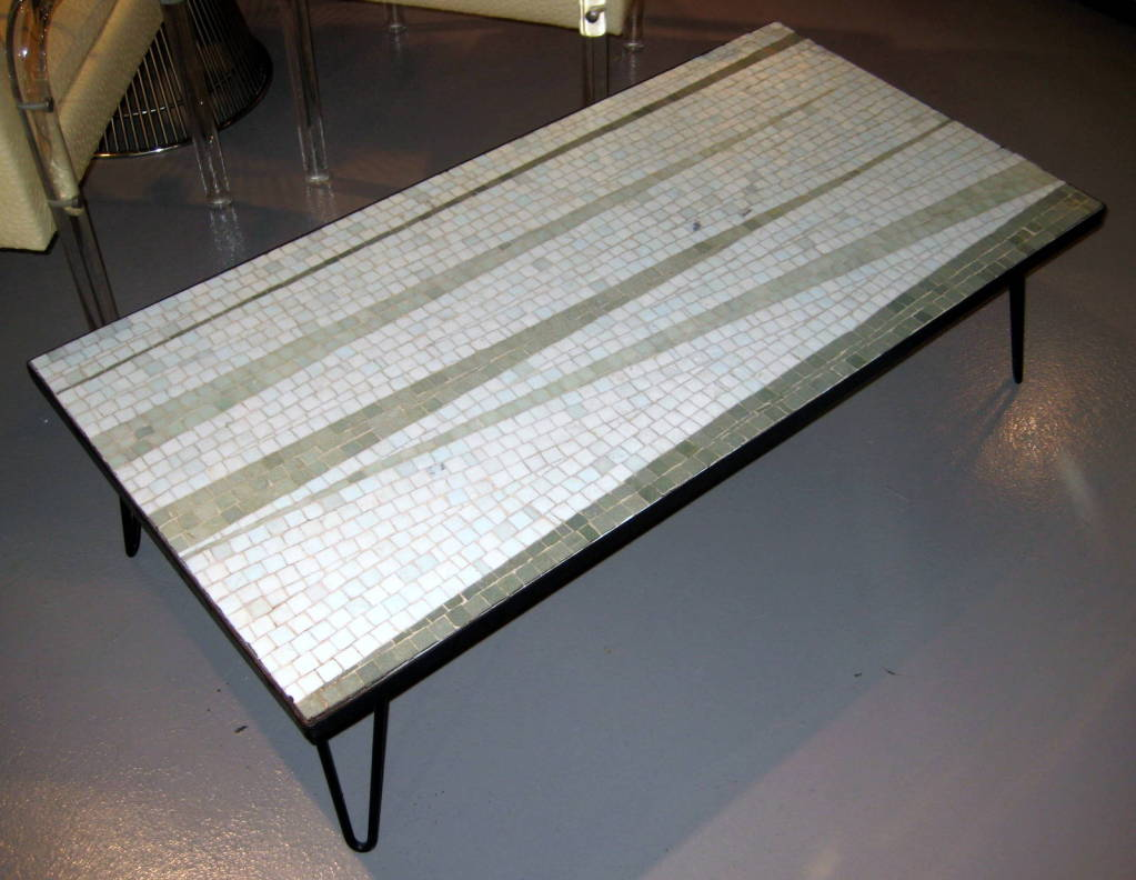 A 1950s glass mosaic topped coffee table on an eames style for Eames style coffee table