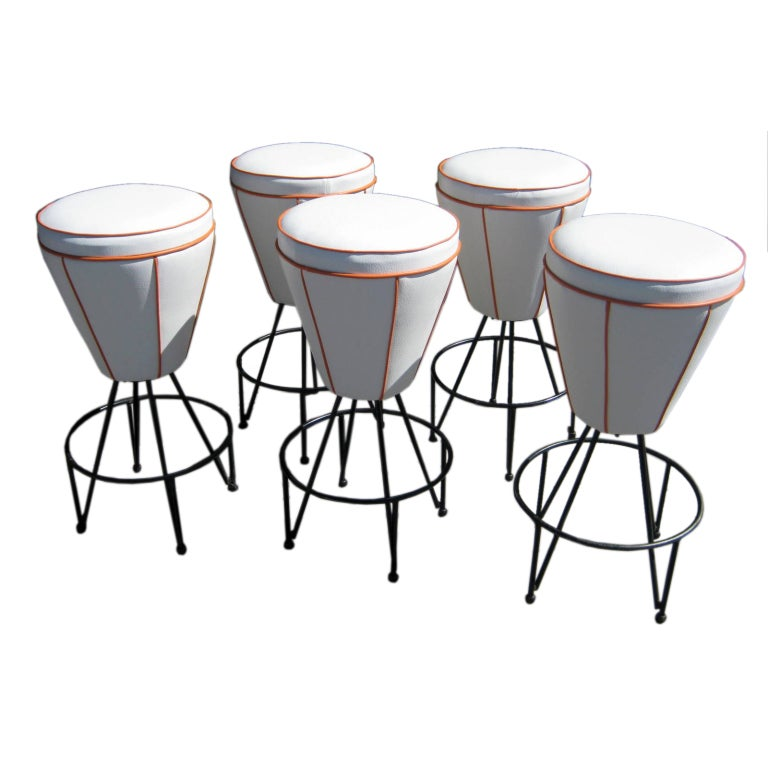 Five Quot Babaloo Quot Bar Stools Attributed To Frederick Weinberg