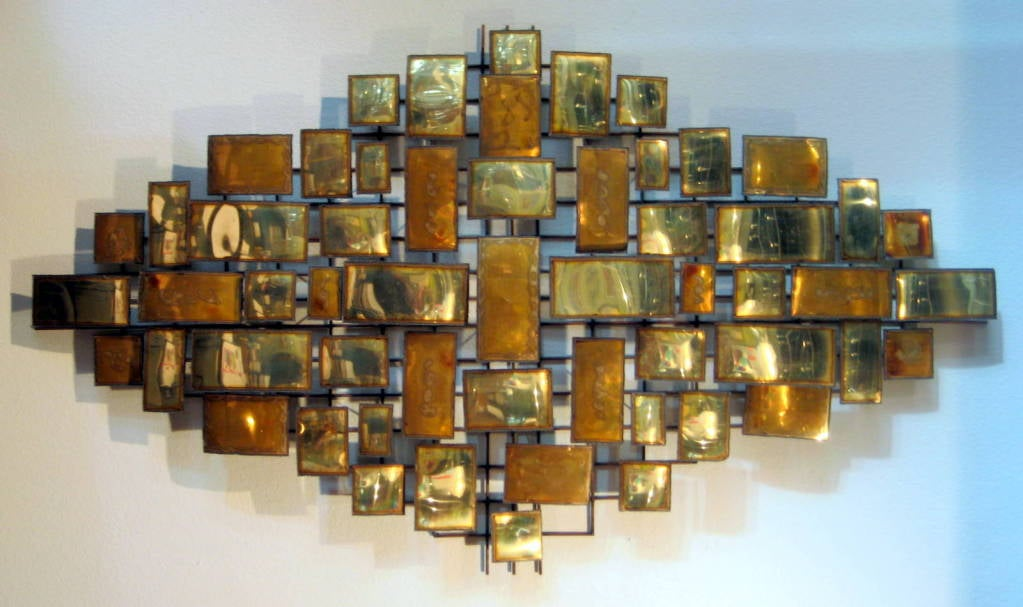 A Large Scale Vintage 1960 39 S Metal Wall Sculpture At 1stdibs